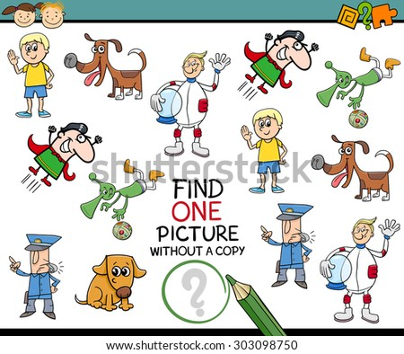 Cartoon Vector Illustration of Educational Game of Single Picture Finding for Preschool Children - stock vector