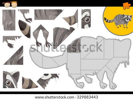Cartoon Vector Illustration of Educational Jigsaw Puzzle Task for Preschool Children with Raccoon Animal Character