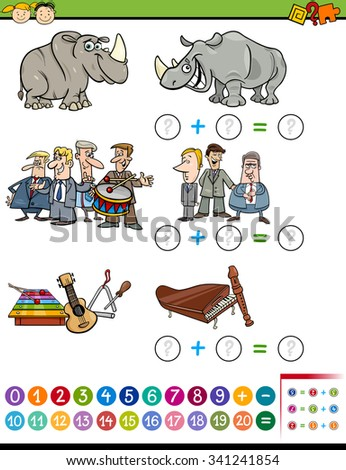 Cartoon Vector Illustration of Educational Mathematical Addition Task for Preschool Children with Funny Characters and Objects - stock vector