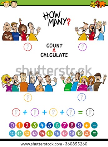 Cartoon Vector Illustration of Educational Mathematical Count and Addition Task for Preschool Children with People Characters - stock vector