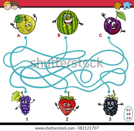 Cartoon Vector Illustration of Educational Paths or Maze Puzzle Task for Preschool Children with Fruits
