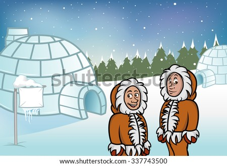 cartoon vector illustration of Eskimos and igloos