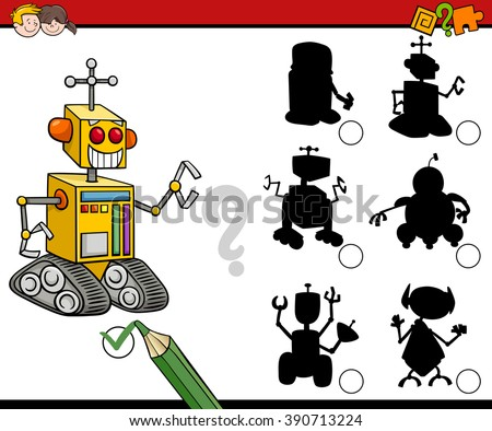 Cartoon Vector Illustration of Find the Shadow Educational Activity Game for Preschool Children with Robots - stock vector