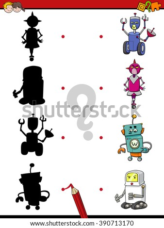 Cartoon Vector Illustration of Find the Shadow Educational Task for Preschool Children with Robots - stock vector