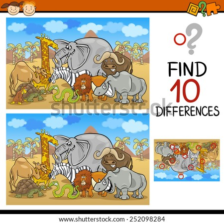 Cartoon Vector Illustration of Finding Differences Educational Game for Preschool Children - stock vector