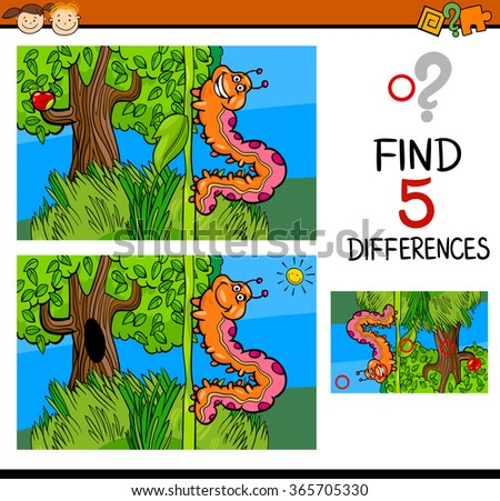 Cartoon Vector Illustration of Finding Differences Educational Task for Preschool Children with Caterpillar Insect Character - stock vector