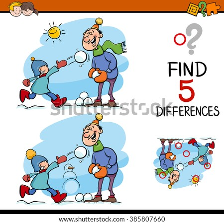 Cartoon Vector Illustration of Finding Differences Educational Task for Preschool Children with Family on Winter Time - stock vector