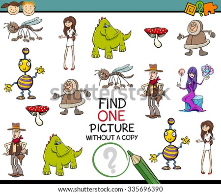 Cartoon Vector Illustration of Finding Single Picture Educational Task for Preschool Children