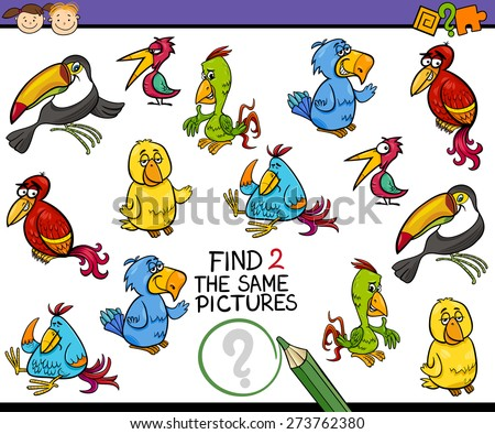 Cartoon Vector Illustration of Finding the Same Picture Educational Game for Preschool Children - stock vector