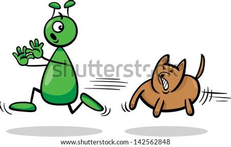 Cartoon Vector Illustration of Funny Alien or Martian Comic Character Running Away form Dog - stock vector