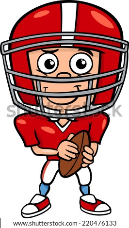 cartoon vector illustration of funny boy american football player with ball