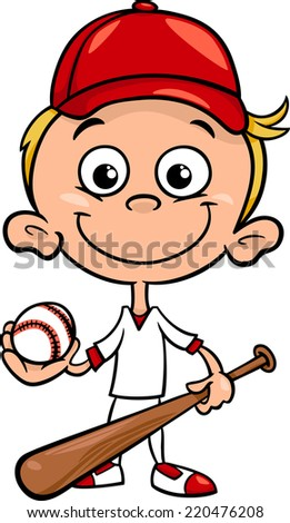 Cartoon Vector Illustration of Funny Boy Baseball Player with Bat and Ball - stock vector
