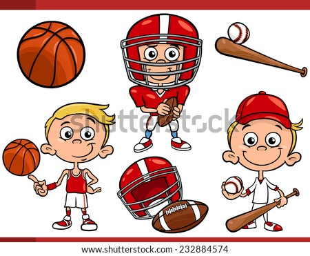 Cartoon Vector Illustration of Funny Boy with American Football and Basketball and Baseball Sport Equipment - stock vector