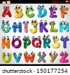 Cartoon Vector Illustration of Funny Capital Letters Alphabet for Children Education - stock vector