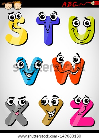 Cartoon Vector Illustration of Funny Capital Letters Alphabet from S to Z for Children Education
