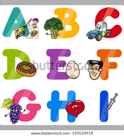 Cartoon Vector Illustration of Funny Capital Letters Alphabet with Objects for Language and Vocabulary Education for Children from A to I - stock vector