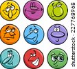 Cartoon Vector Illustration of Funny Comics Characters or Faces Set - stock vector
