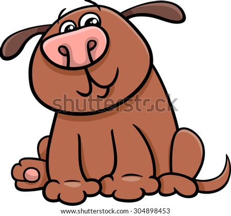 Cartoon Vector Illustration of Funny Dog or Puppy