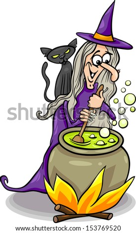 Cartoon Vector Illustration of Funny Fantasy or Halloween Witch with Black Cat Cooking a Magic Mixture - stock vector