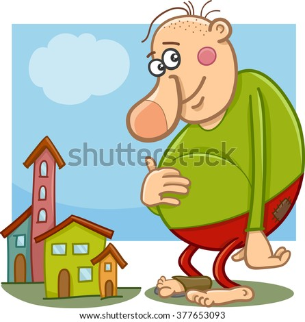 Cartoon Vector Illustration of Funny Giant Fantasy or Fairy Tale Character