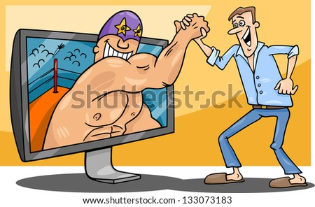 Cartoon Vector Illustration of Funny Man with Wrestler for tv or Watching Interactive Digital Television or Playing Video Game