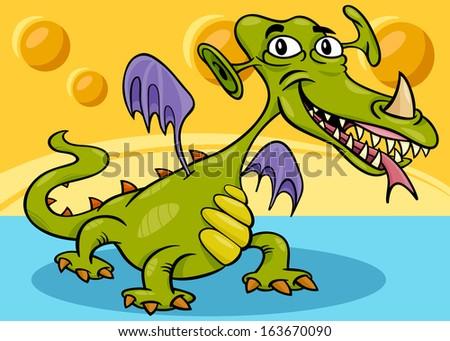 Cartoon Vector Illustration of Funny Monster or Dragon or Fright in Fantasy World - stock vector