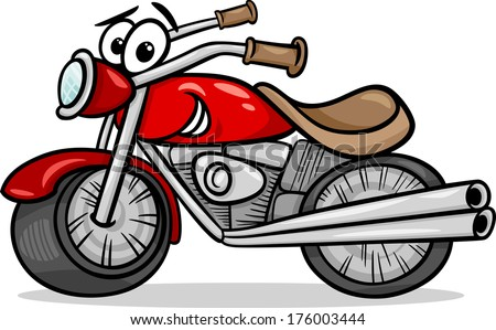 Cartoon Vector Illustration of Funny Motor Bike Vehicle or Chopper Comic Mascot Character - stock vector