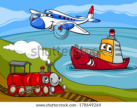 Cartoon Vector Illustration of Funny Plane and Train and Ship Transport Comic Characters Group - stock vector