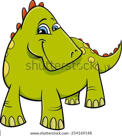 Cartoon Vector Illustration of Funny Prehistoric Dinosaur or Fantasy Dragon - stock vector