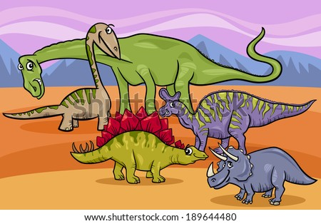 Cartoon Vector Illustration of Funny Prehistoric Dinosaurs Characters Group - stock vector