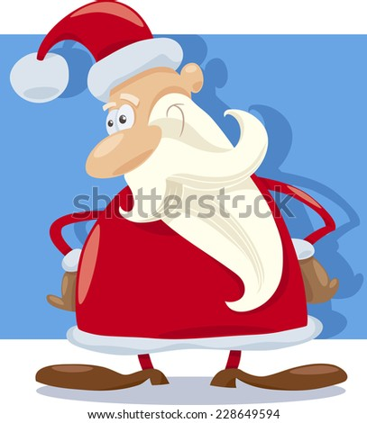 Cartoon Vector Illustration of Funny Santa Claus