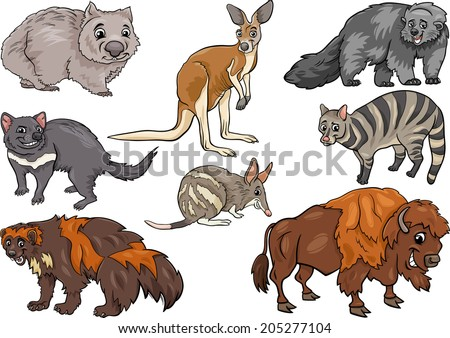 Cartoon Vector Illustration of Funny Wild Animals Characters Set