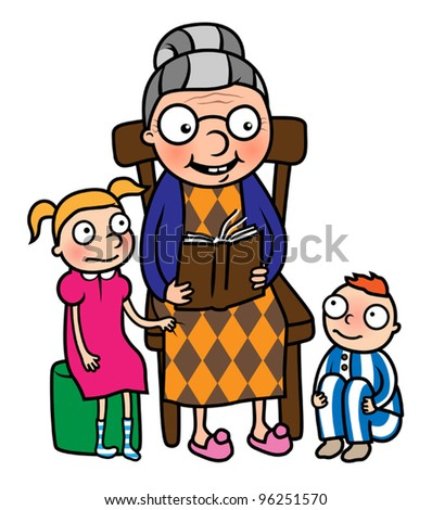Cartoon vector illustration of grandmother reading book to her grandchildren or nanny reading book to young boy and girl - stock vector