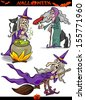 Cartoon Vector Illustration of Halloween Holiday Themes like Witch on Broom or Black Cat - stock photo