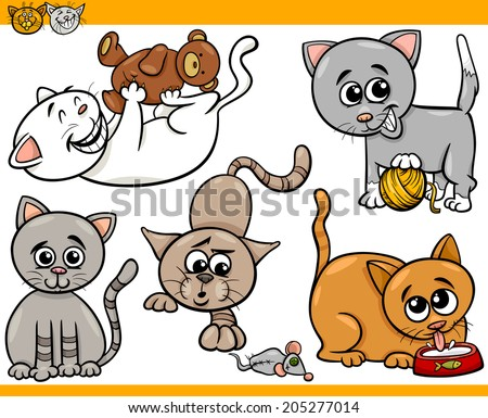 Cartoon Vector Illustration of Happy Cats or Kittens Pets Set