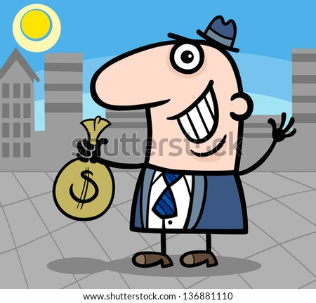Cartoon Vector Illustration of Happy Man or Businessman with Bag of Money in Cash in the City - stock vector