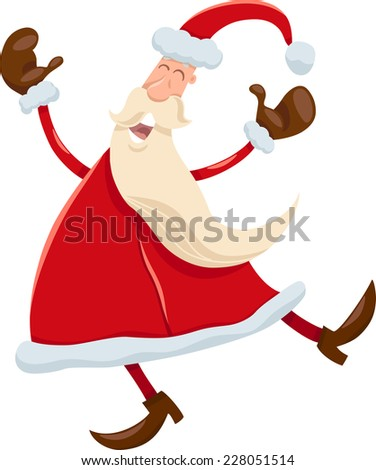 Cartoon Vector Illustration of Happy Santa Claus Singing Christmas Carols