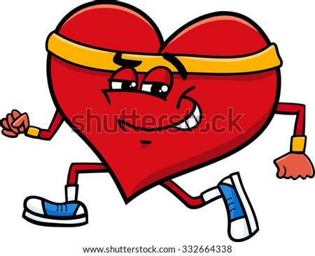Cartoon Vector Illustration of Heart Character Doing Jogging on Valentine Day