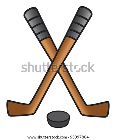cartoon vector illustration of hockey sticks and puck - stock vector