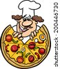 Cartoon Vector Illustration of Italian Cook or Chef with Big Pizza - stock