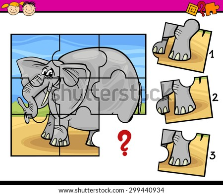 Cartoon Vector Illustration of Jigsaw Puzzle Education Game for Preschool Children with Elephant - stock vector