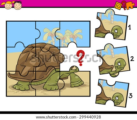 Cartoon Vector Illustration of Jigsaw Puzzle Education Game for Preschool Children with Turtle - stock vector