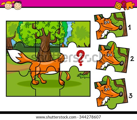 Cartoon Vector Illustration of Jigsaw Puzzle Educational Task for Preschool Children with Fox Animal Character