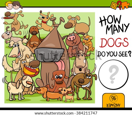 Cartoon Vector Illustration of Kindergarten Educational Counting Task for Preschool Children with Dog Characters