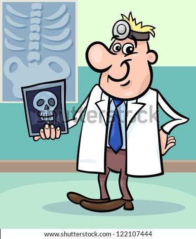 Cartoon Vector Illustration of Male Medical Doctor in Hospital with X-ray Picture of Human Skull - stock vector