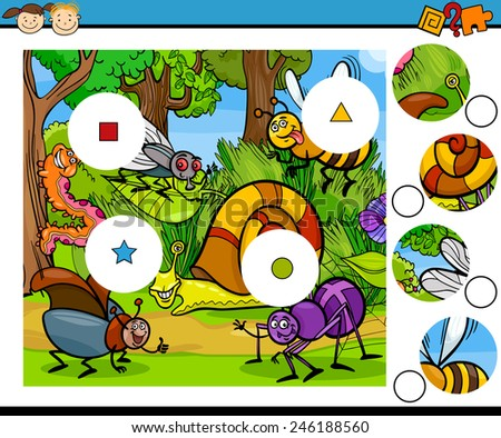 Cartoon Vector Illustration of Match the Pieces Education Game for Preschool Children - stock vector