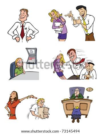 cartoon vector illustration of office life - stock vector