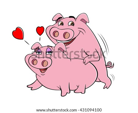 cartoon vector illustration of pigs humping
