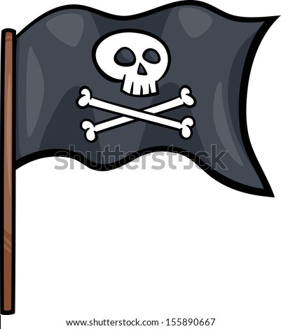 Cartoon Vector Illustration of Pirate Flag with Skull and Bones or Jolly Roger Object Clip Art