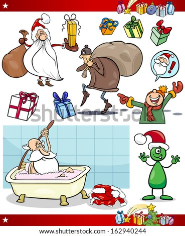 Cartoon Vector Illustration of Santa Claus and Christmas Presents and Themes Set - stock vector